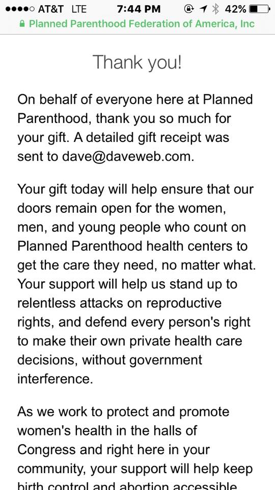 Thank you for donating to Planned Parenthood!