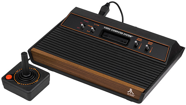 The Atari 2600 Video Game System with controllers!