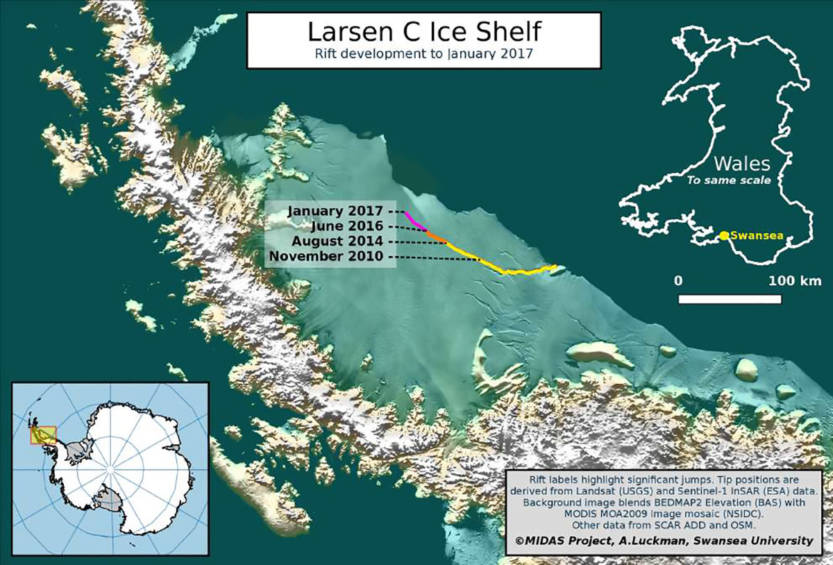 A map of Larsen C's iceberg by MIDAS/Swansea University/Aberystwyth University