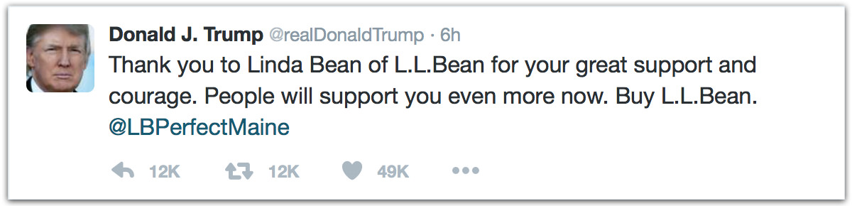 Thank you to Linda Bean of L.L. Bean for your great support and courage. People will support you even more now. Buy L.L. Bean
