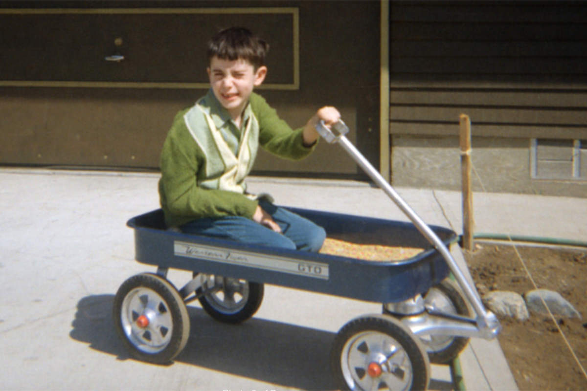 Lil' Dave in his wagon