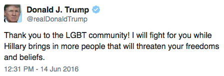 Trump Supporting LGBT Persons Tweet
