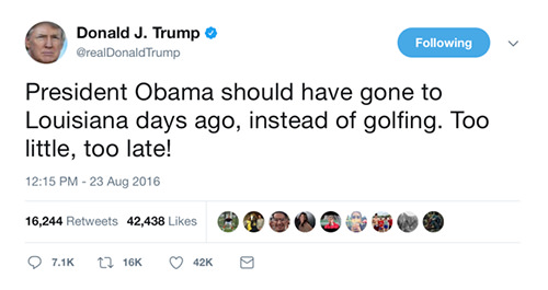 Another Stupid Fucking Tweet by the Asshole in Chief