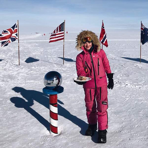 Jade Hameister at the South Pole with a sandwich!