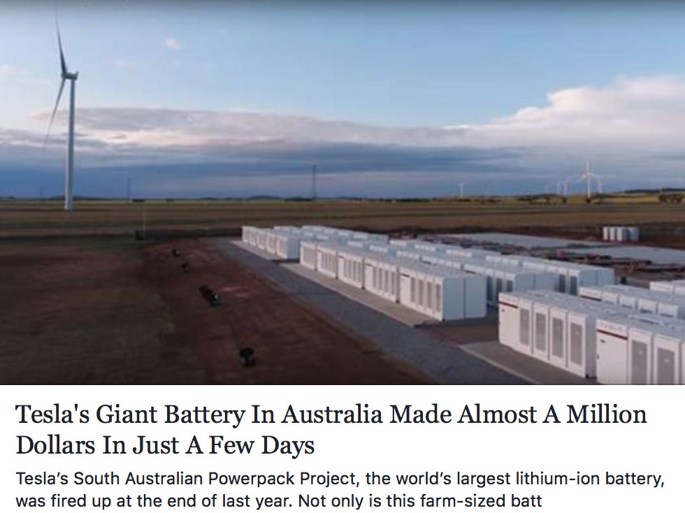 Tesla Battery in Australia made Almost a Million Dollars in a Few Days