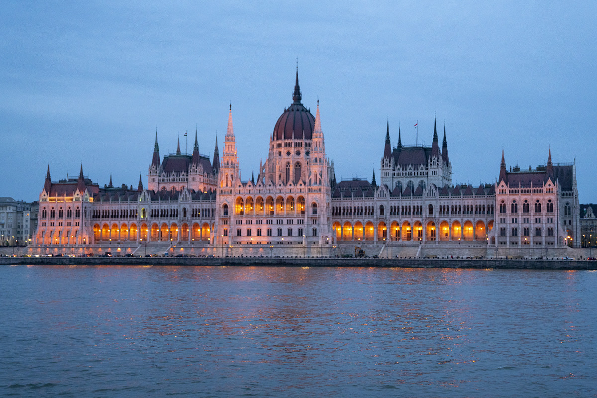 Hungarian Parliament Bulding at night in Budapest