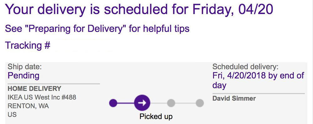FedEx Tracking Number from IKEA