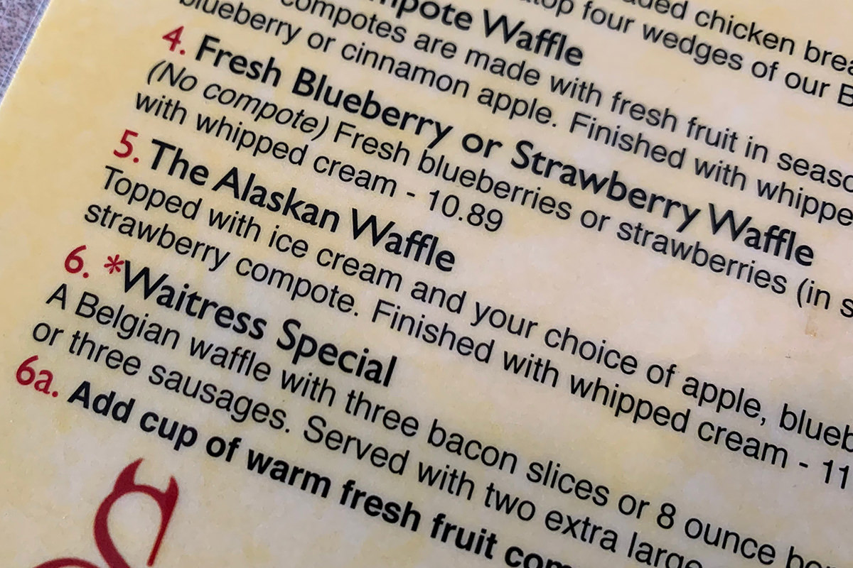 Alaskan Waffle at th Blueberry Hill restaurant