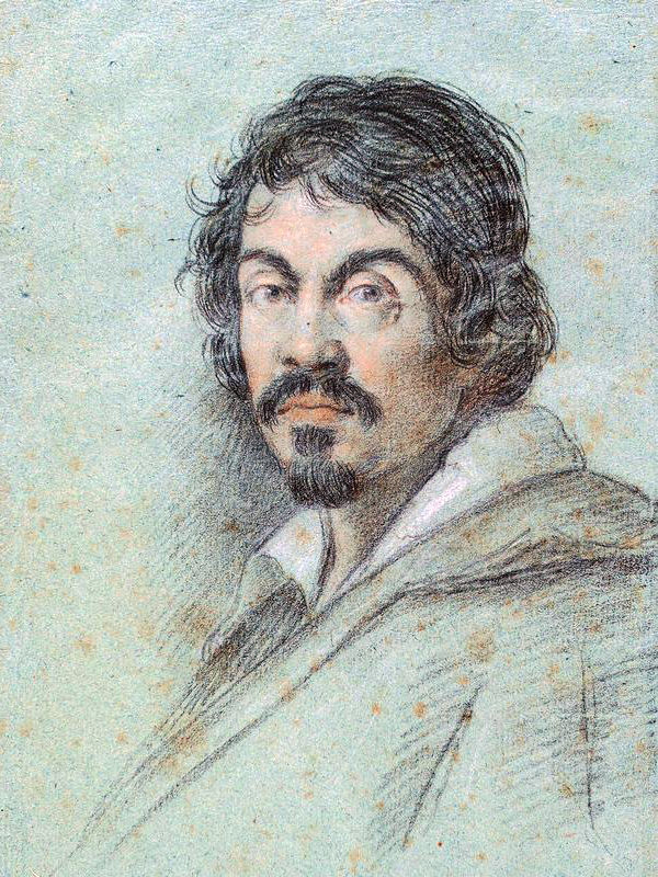 Chalk portrait of Caravaggio by Ottavio Leoni