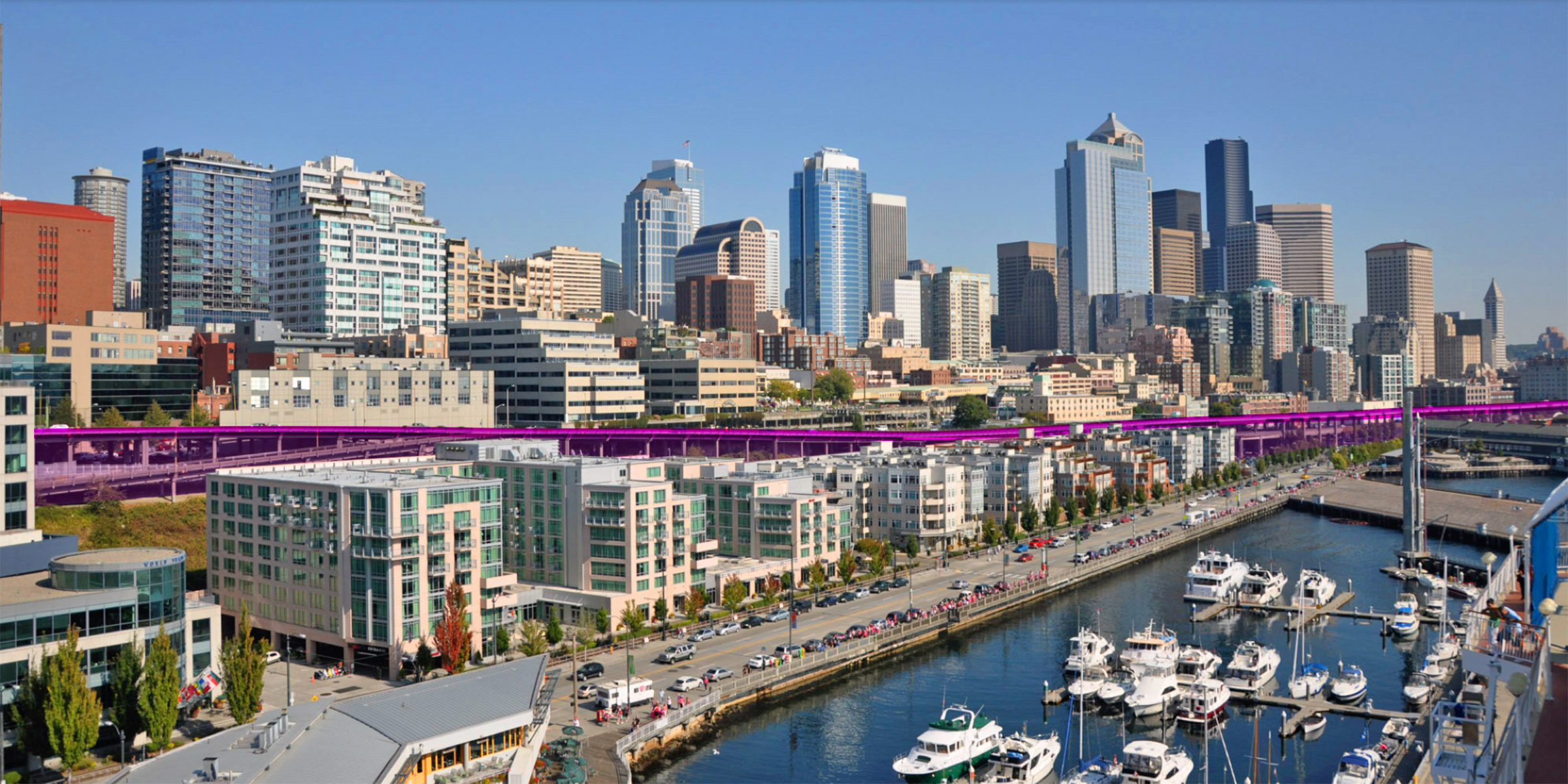 Seattle's Alaskan Way Viaduct Highlighted in Pink