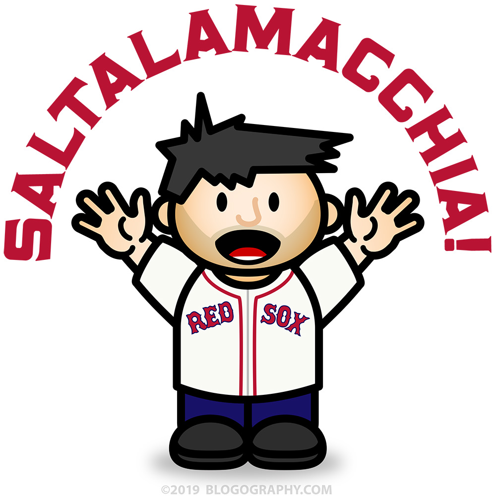 Saltalamacchia Davetoon with Lil' Dave in a Red Sox jersey.