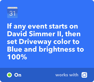 IFFT Set Driveway Light to Blue Color on Google Calendar Event