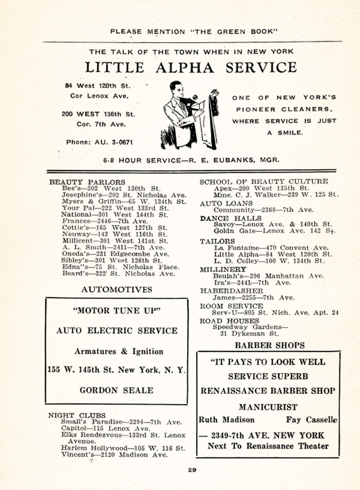 Page from the 1940 Edition of the Negro Motorist Green-Book