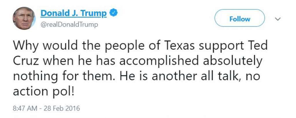 Trump Tweets on Lyin' Ted Cruz