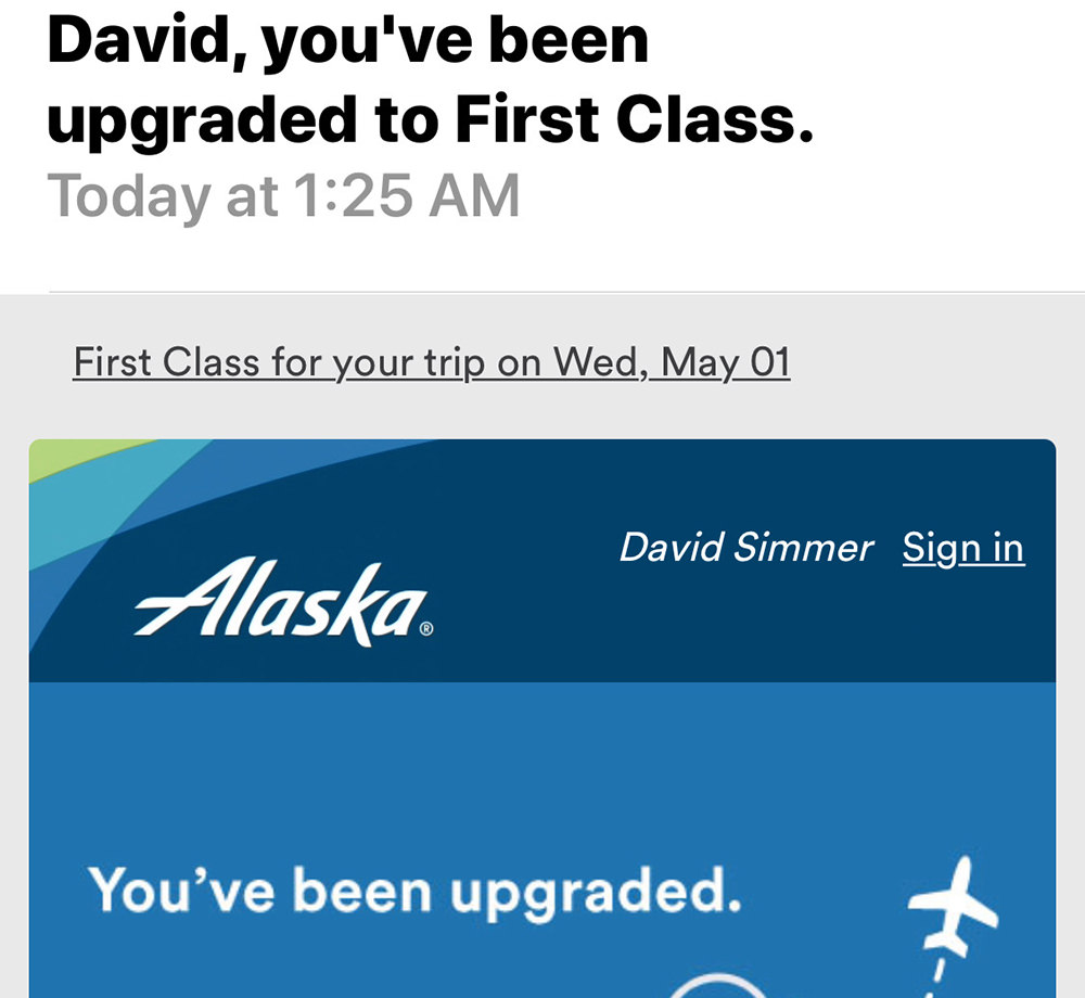 First Class Upgrade!