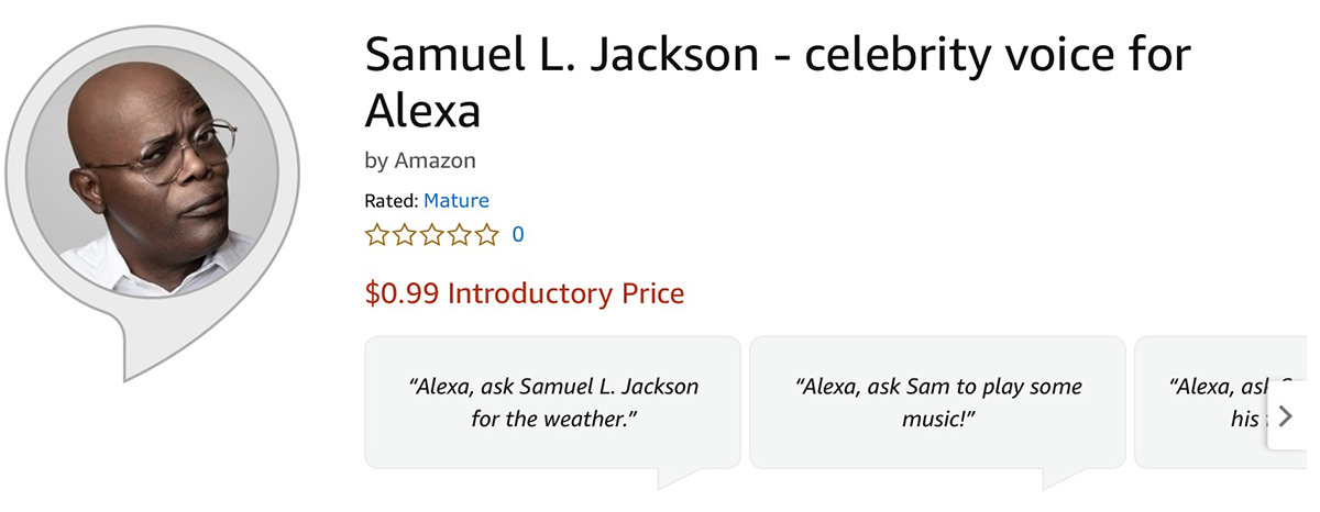 A screenshot of the Samuel L. Jackson Celebrity Voice skill for Alexa on Amazon.