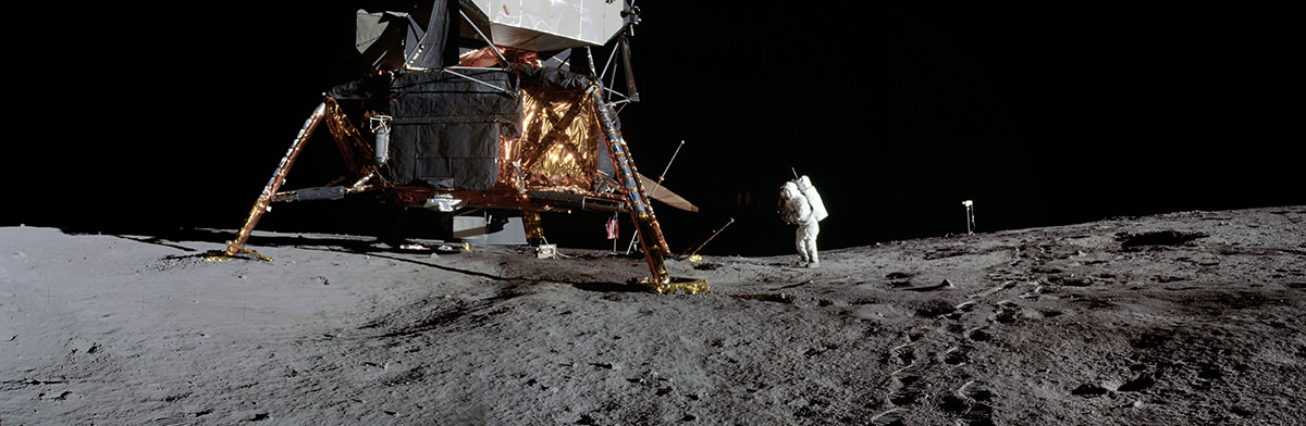 Panorama of Apollo astronauts on the moon
