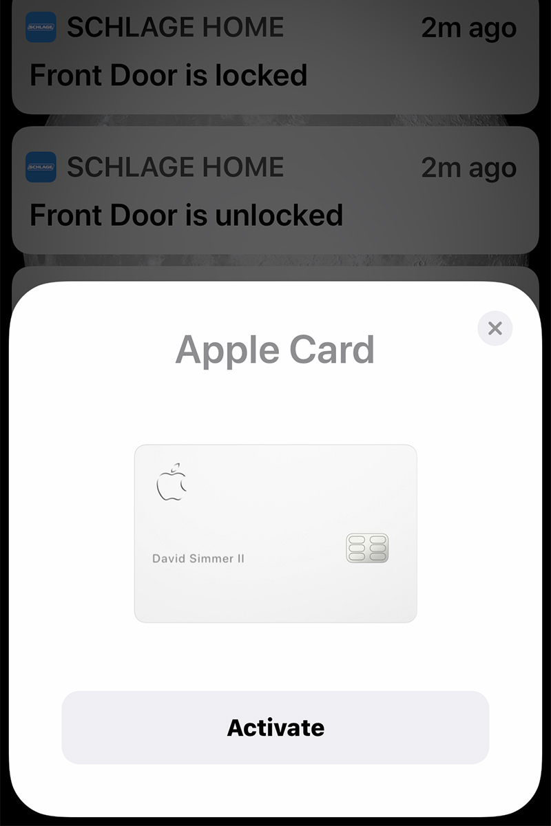The iPhone screen showing the Apple Card and a button which says ACTIVATE.