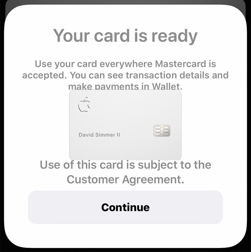 The iPhone screen showing that the Apple Card has been activated.