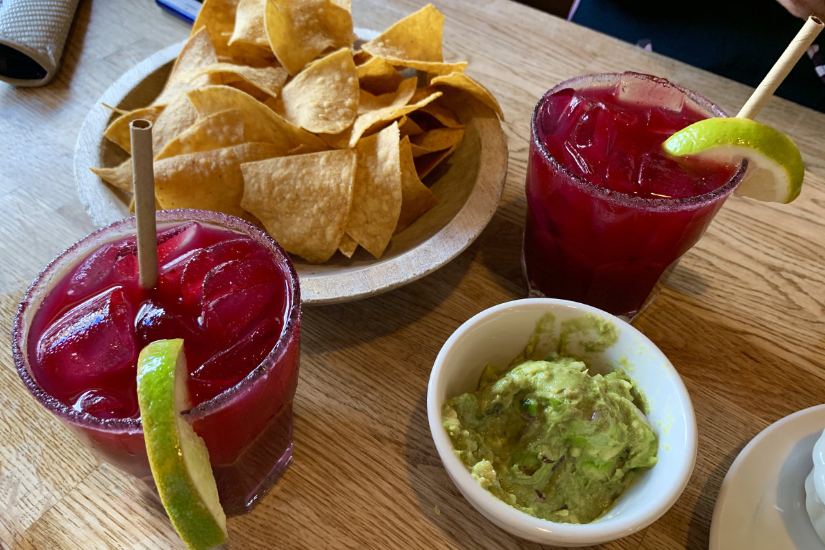 Bluberry Margaritas, chips, and guacamole