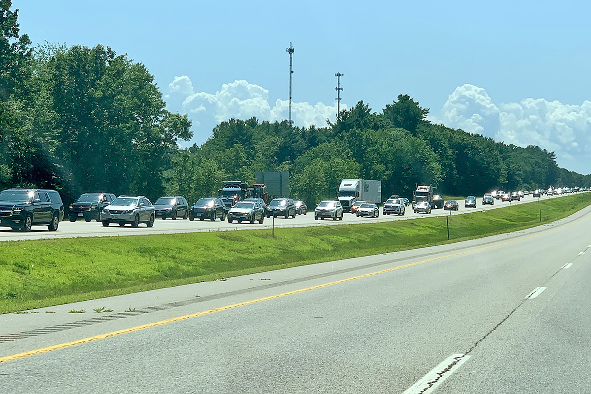 The highway to Maine is jammed with cars going 10 miles an hour.