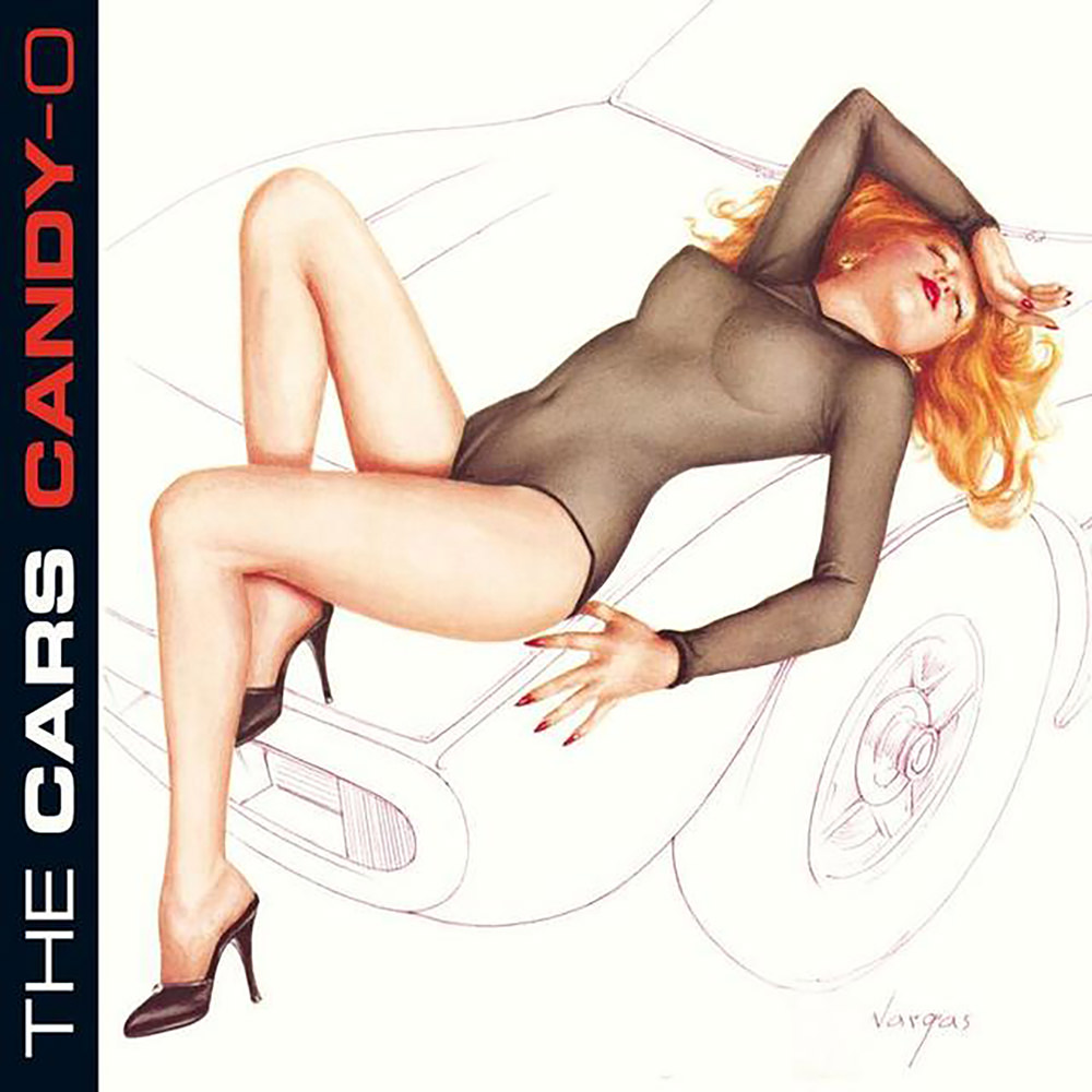 The cover of the album Candy-O by Vargas as performed by The Cars. It depicts a red-haired woman laying across the hood of a Ferrari 365 GTC/4 dressed in a sheer black body suit.
