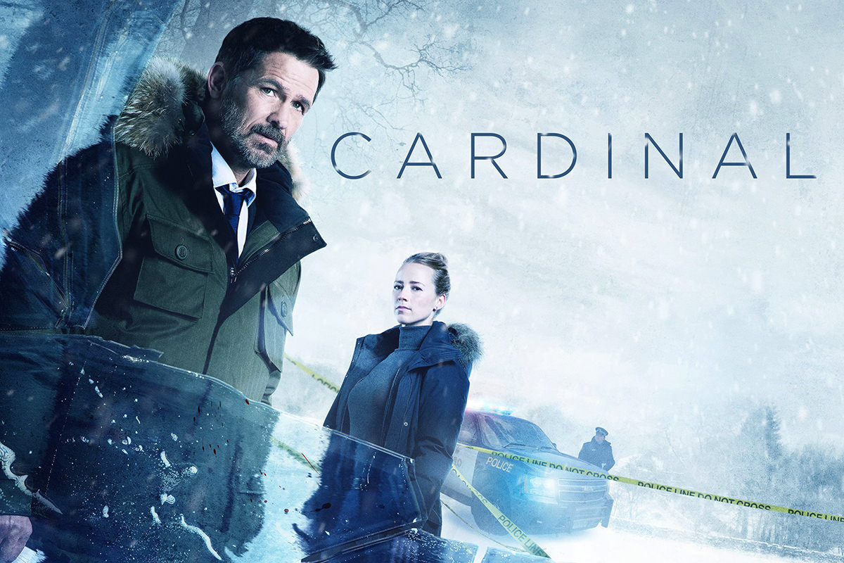 Cardinal poster showing Billy Campbell in a snow parka with his female partner and a police car as a blizzard rages.