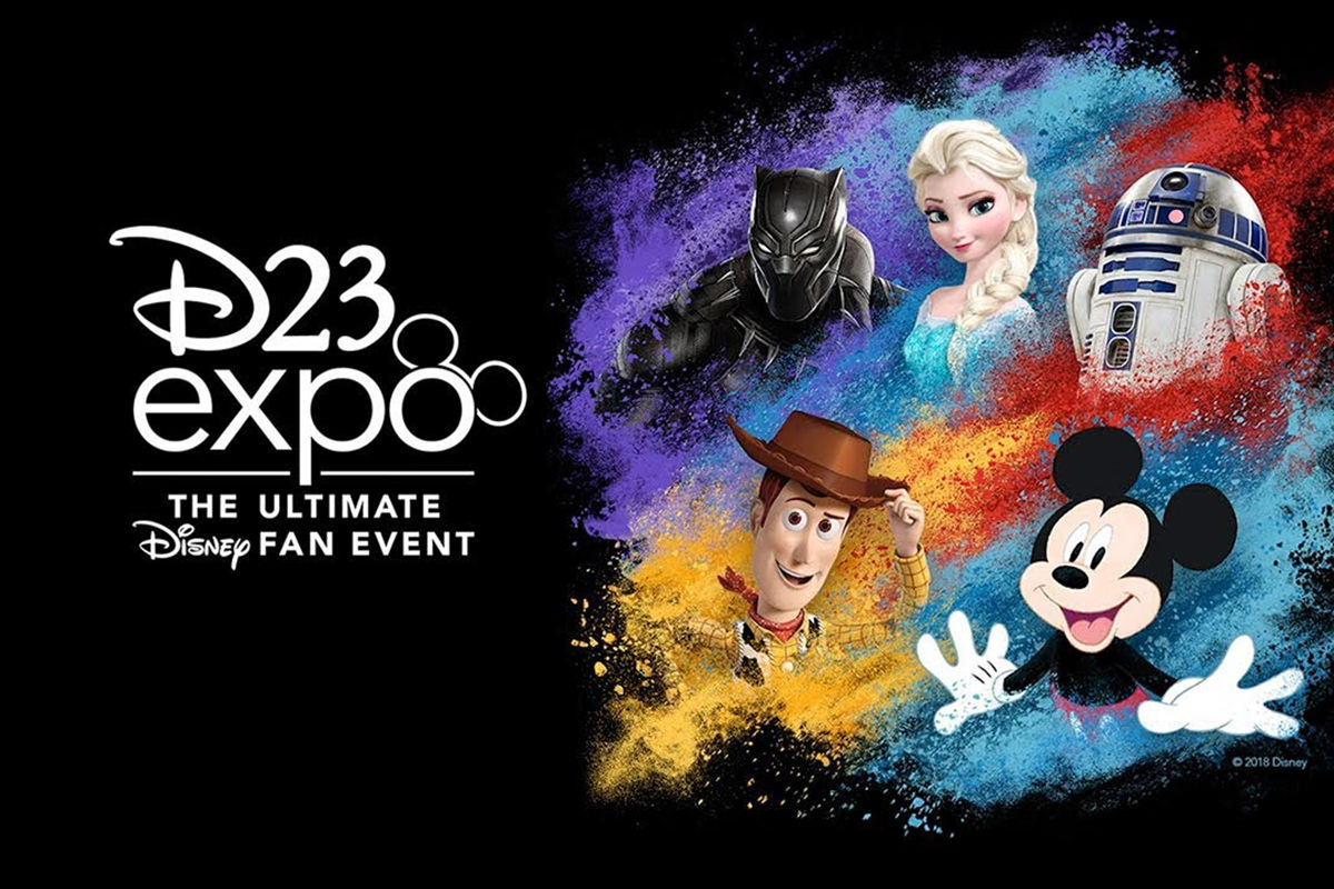 The Disney D23 Expo Poster with Black Panther, Princess Elsa, R2D2, Woody from Toy Story, and Mickey Mouse.
