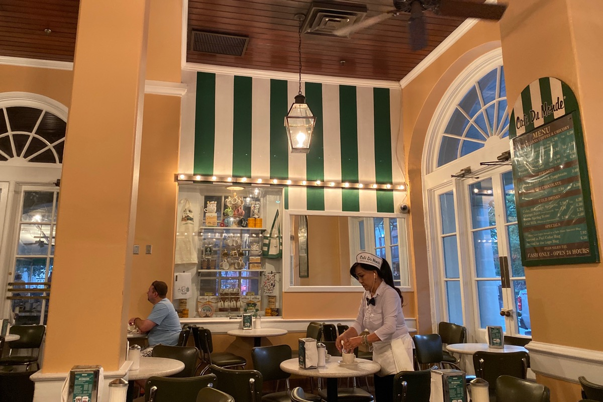 Inside the Cafe du Monde where there is indeed a blank spot where the painting used to hang.