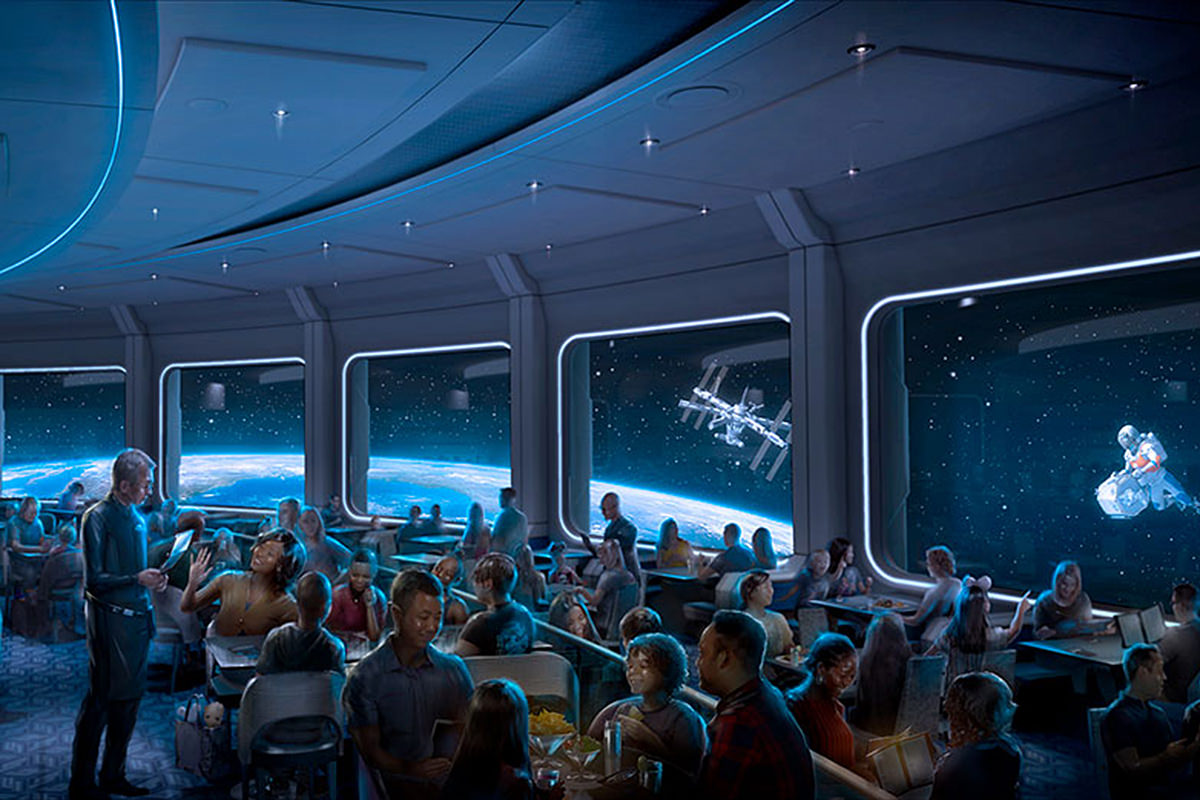 Artists concept of a restaurant in space orbiting the earth.