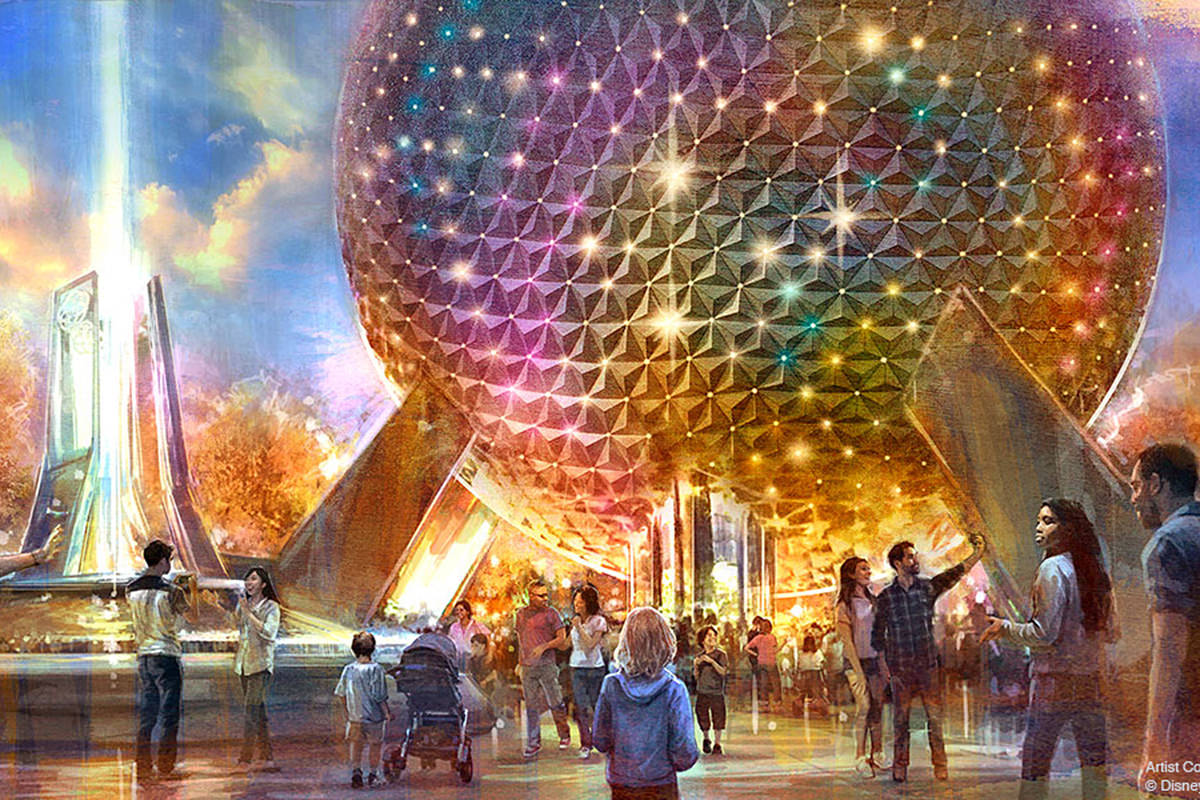 An artist concept of EPCOT showing the Spaceship Earth attraction reflecting all kinds of color.