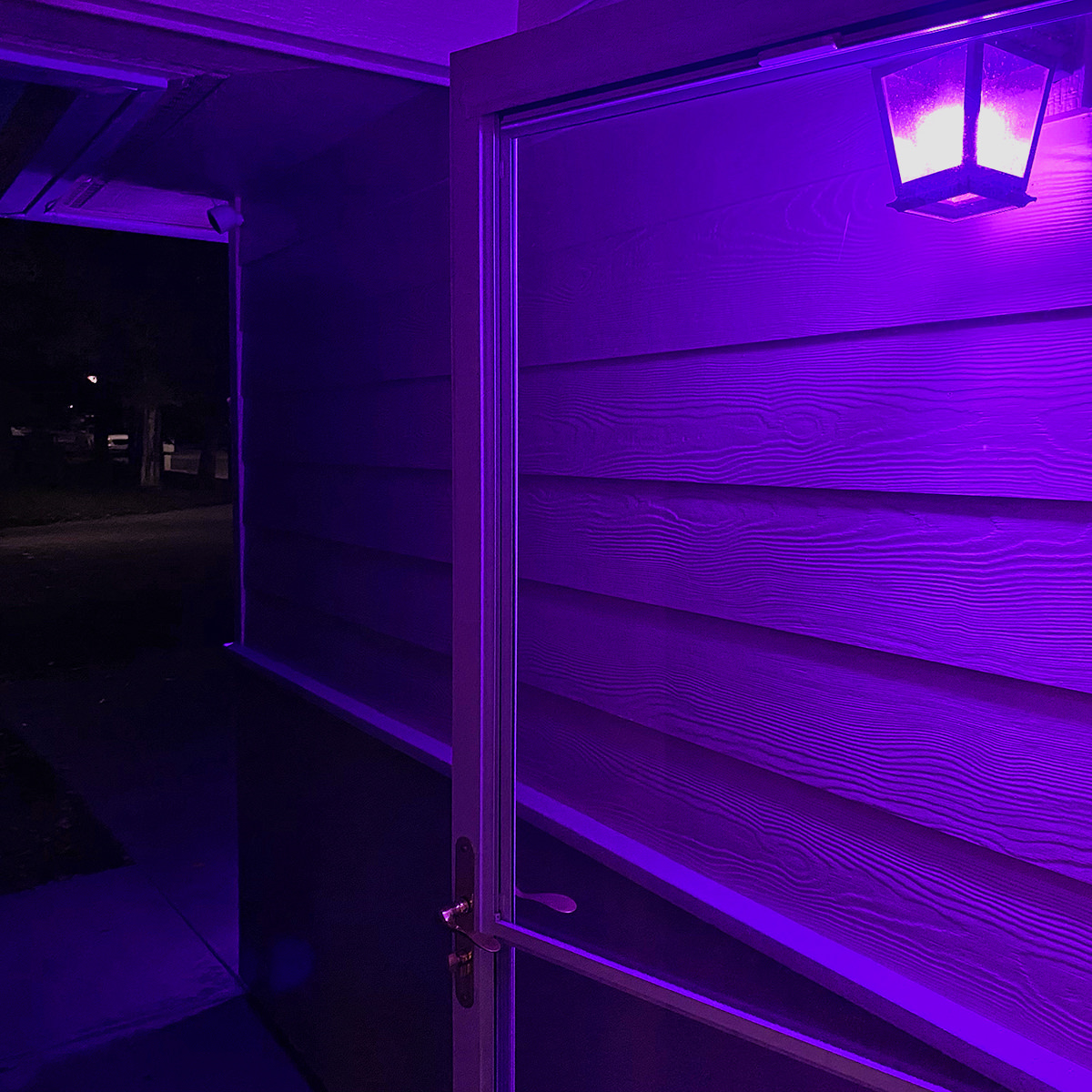An eerie purple glow from my porch light illuminates the front of my home.
