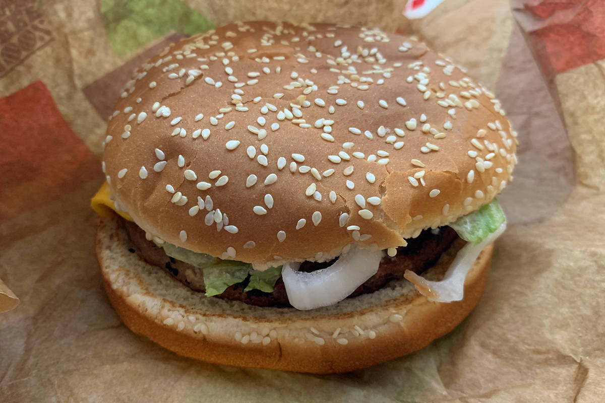 A Burger King Impossible Whopper hamburger.