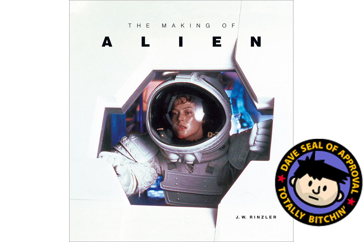 The book cover to The Making of Alien with the DAVE APPROVED sticker on it.
