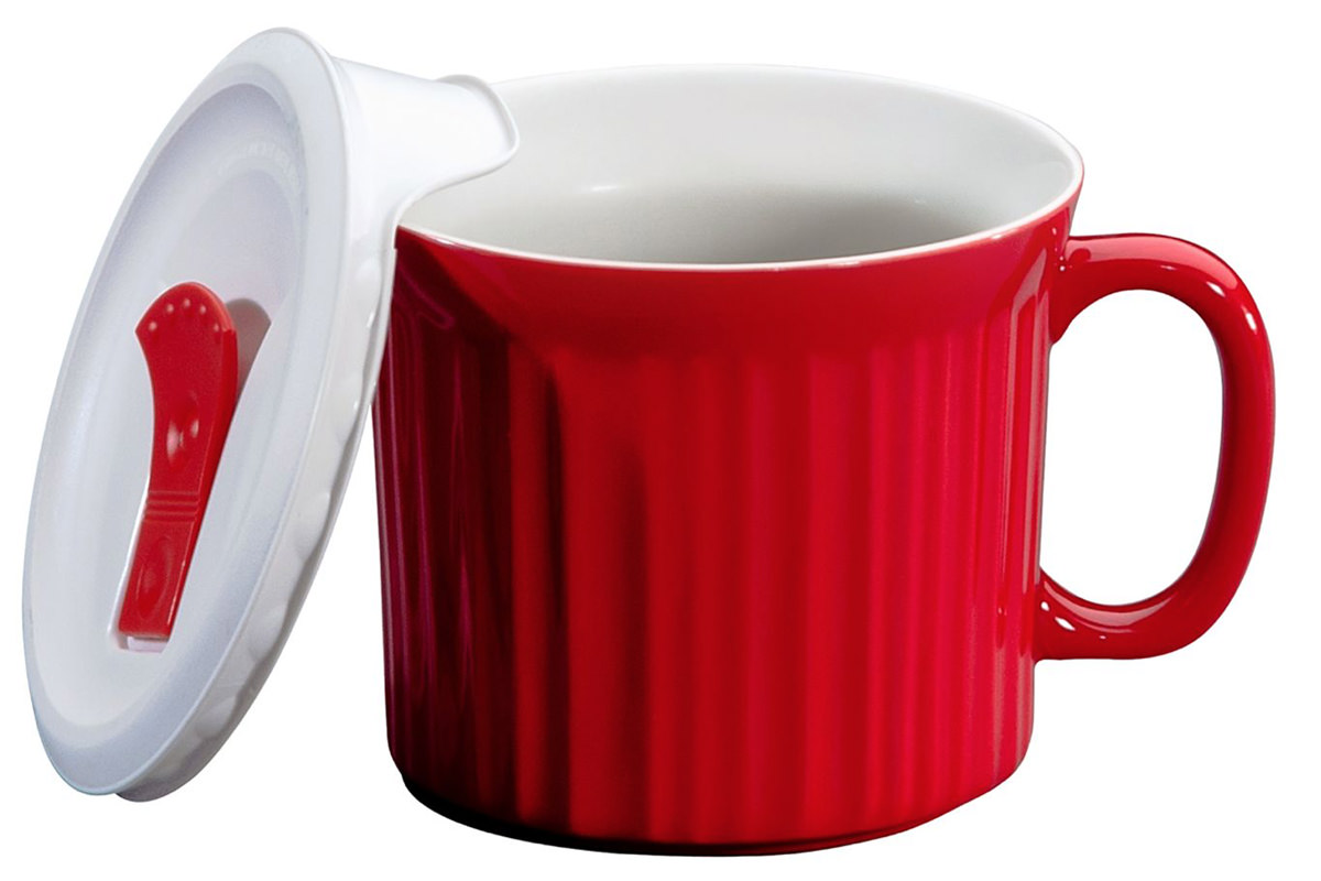 CorningWare Meal Mug... a big red mug with a cover that has a steam vent on it.
