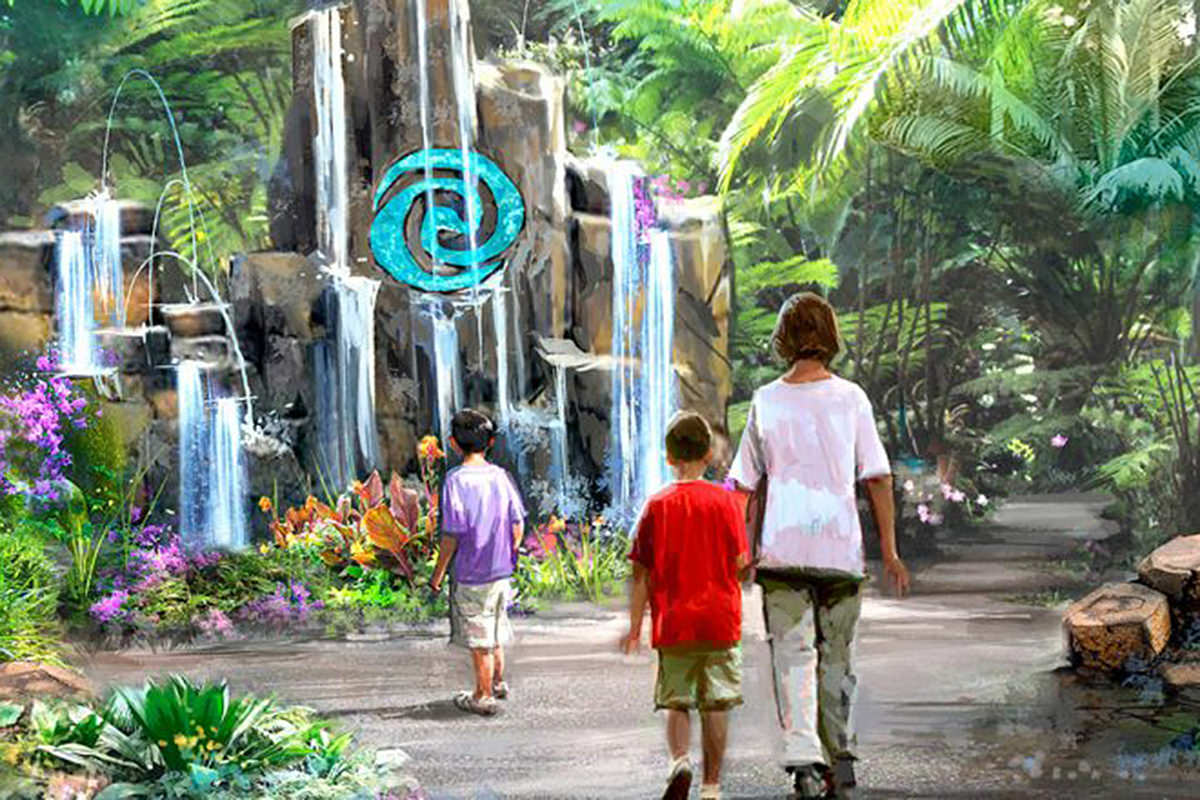 Artists concept of Moana's Journey of Water which shows people walking towards a tropical mountain with a Moana logo on it.
