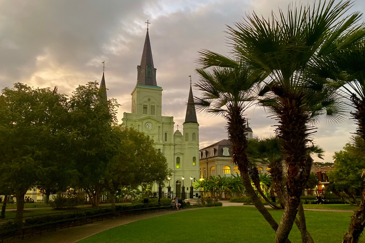 Another shot of St. Louis Cathedral at dusk with a lovely green glow on the sides of the building.