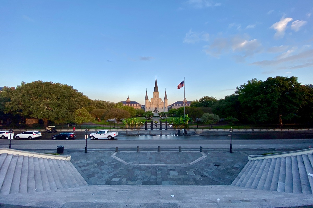 Looking at the cathedral of Jackson Square which looks a slight creamy yellow in the morning light.