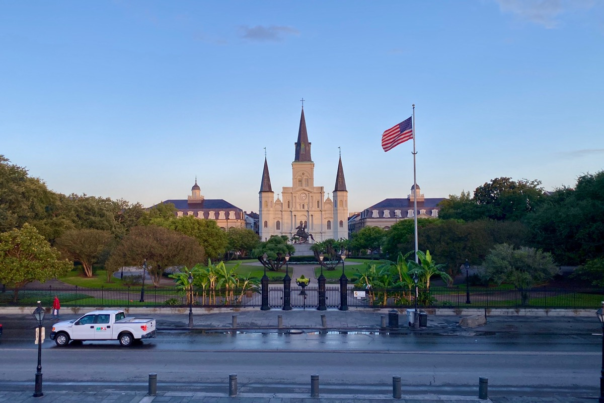 Looking at St. Louis Cathedral and Jackson Square which looks a slight creamy yellow in the morning light.