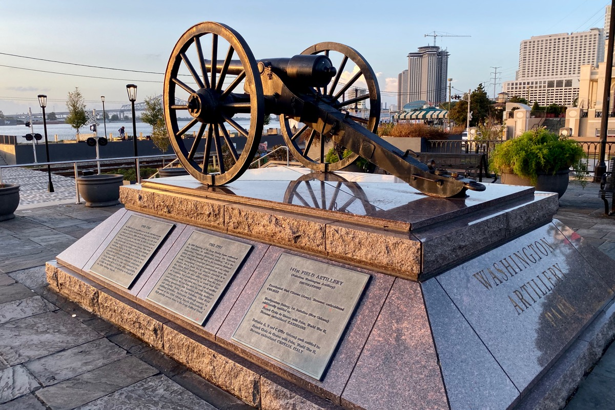 An artillery canon monument from the standard camera lens.