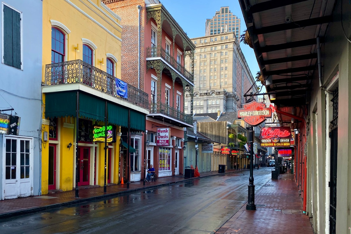 Bourbon Street in the daylight... looking abandoned and freshly-cleaned.