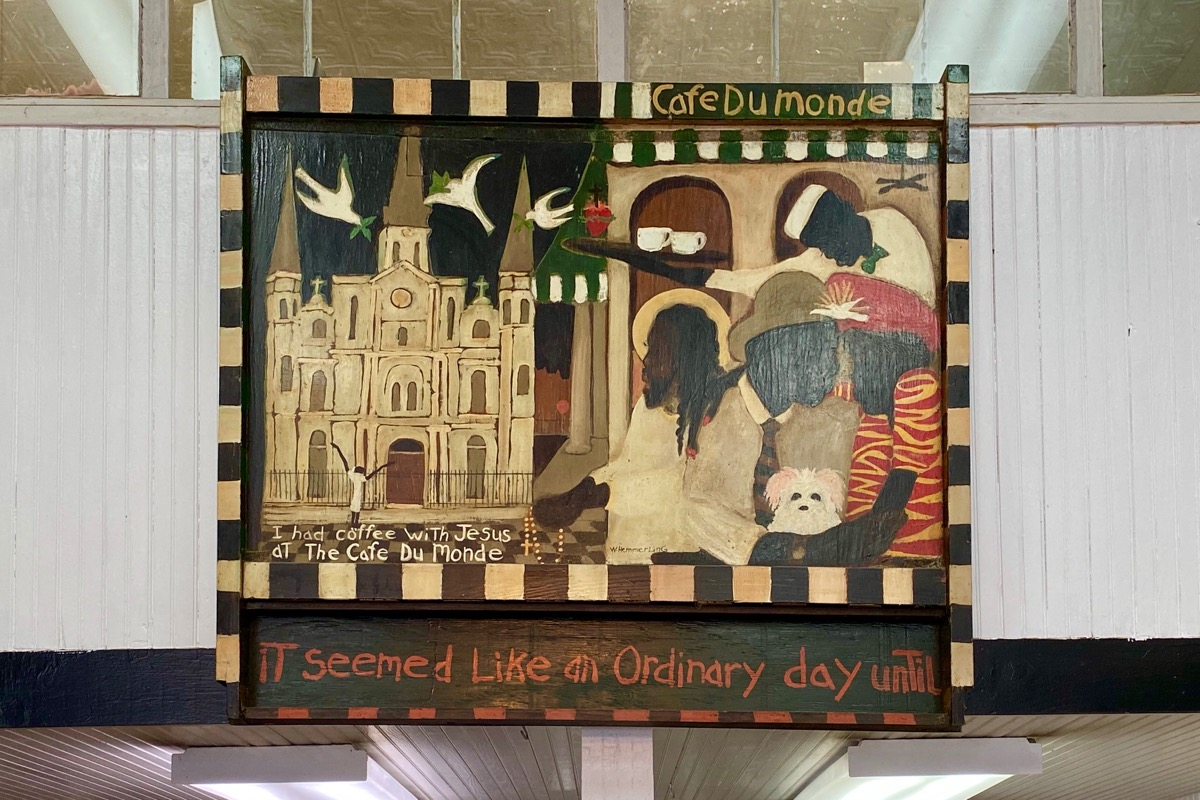 The Bill Hemmerling painting about seeing Jesus at the Cafe du Monde.
