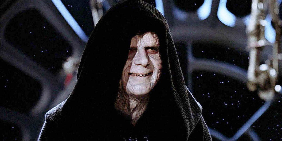 Deranged Emperor Palpatine looking particularly evil.