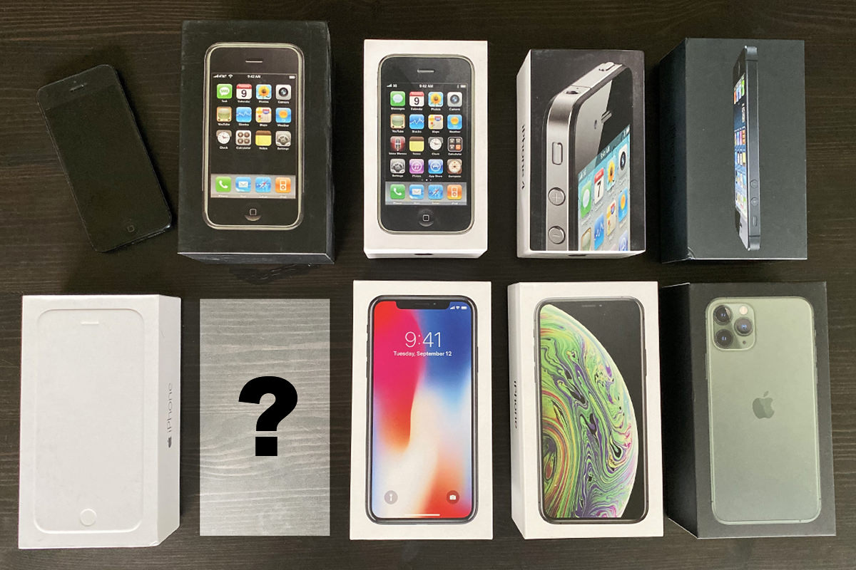 All my iPhone boxes lined up on a table... with the exception of iPhone 7.