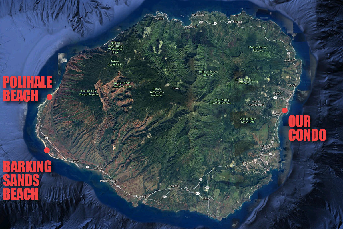 A map of Kauai showing how our condo in Wailua is on the other side of the island from Barking Sands Beach... and how Polihale Beach is north of Barking Sands.