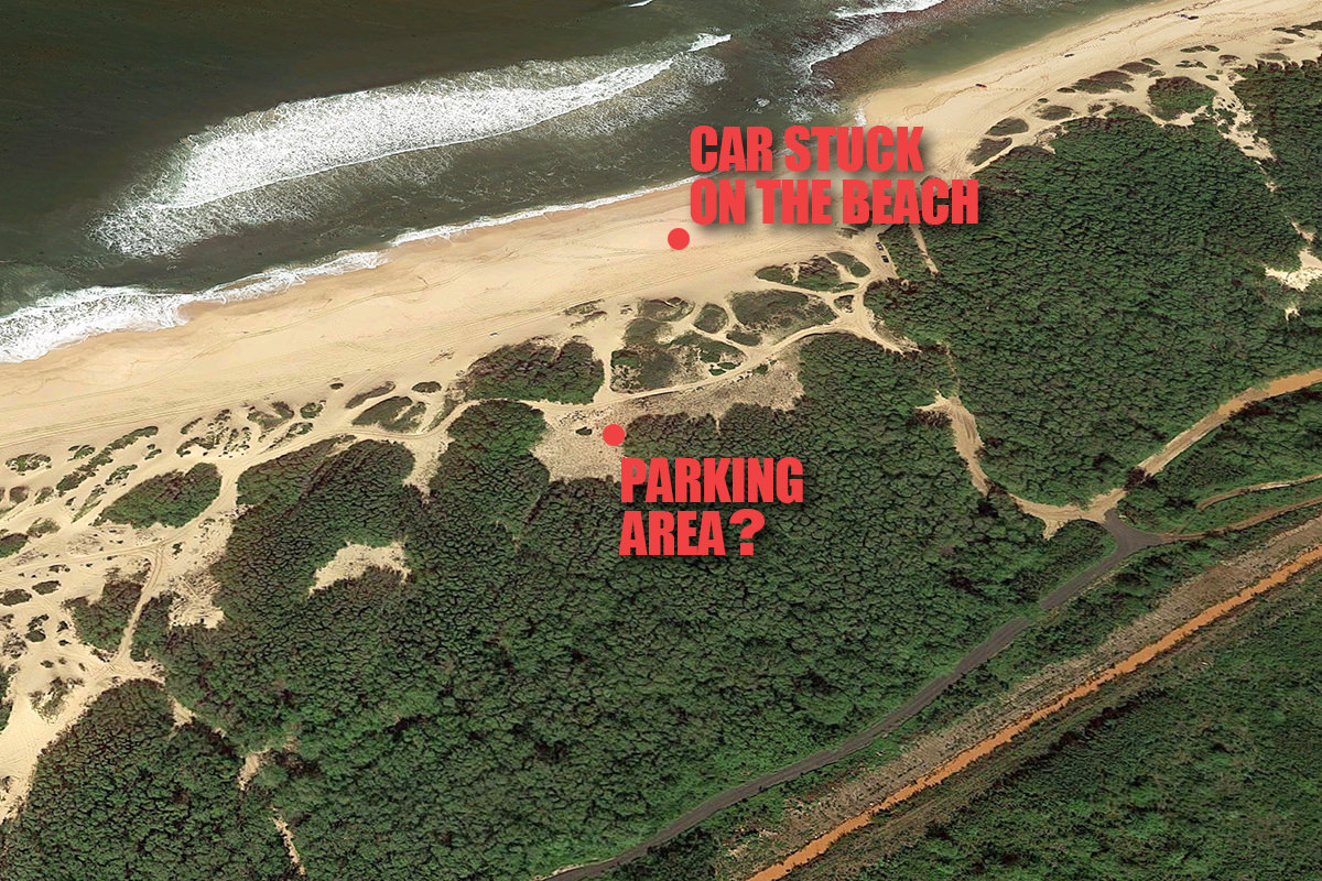 A map of Polihale Beach showing the possible access road and possible parking area up off the beach.
