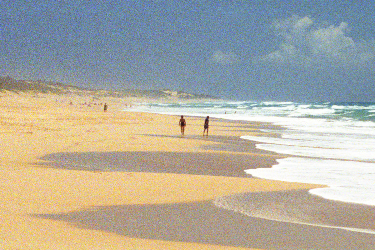 A closeup of Polihale Beach with massive film grain.