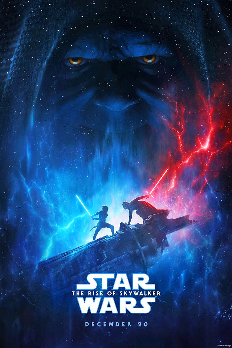 Poster for Star Wars: The Rise of Skywalker with Rey and Kylo Ren battling with lightsabers.