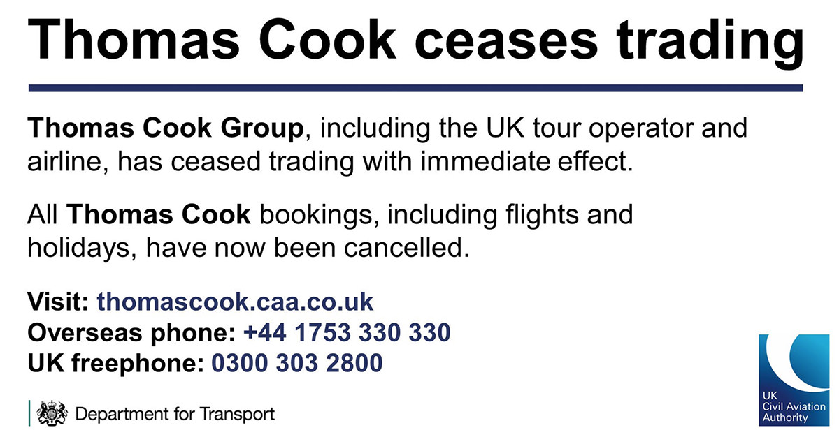 An announcement from Thomas Cook's Twitter feed saying that they have stopped trading with immediate effect.