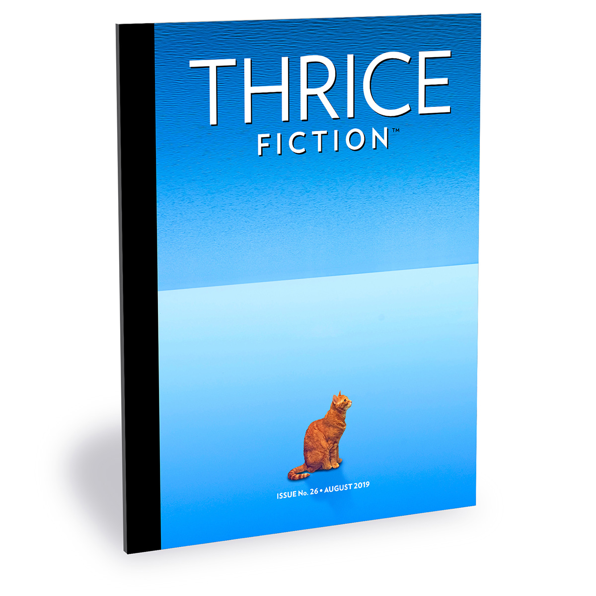 The cover of Thrice Fiction Magazine No. 26 showing a ginger orange cat sitting on the sky while the ocean floats abover her as a new sky.
